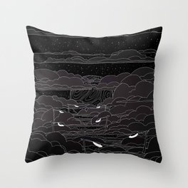 white ink 04 - city in the sky Throw Pillow