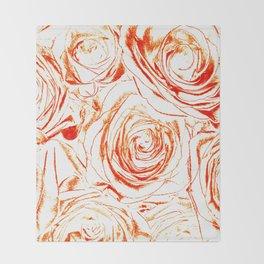 Roses // Wedding Flowers, Abtract Minimalist Art Throw Blanket