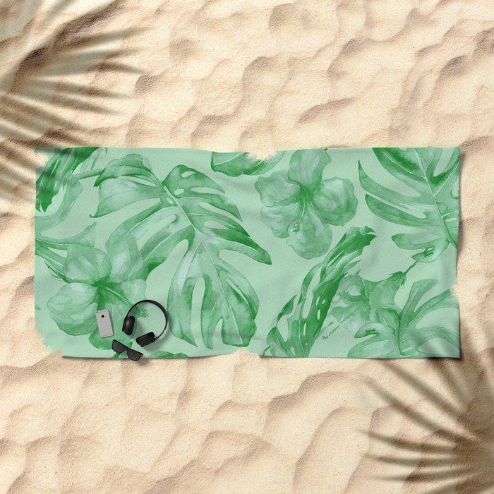 Green Jungle Island Tropical Palm Garden Beach Towel