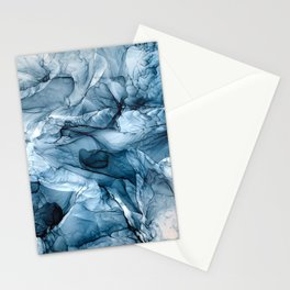 Churning Blue Ocean Waves Abstract Painting Stationery Cards