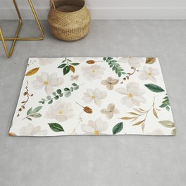 Magnolia Watercolor Floral Pattern Rug