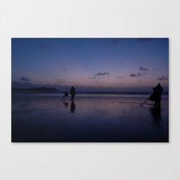 Beach Fishing at Dusk Canvas Print