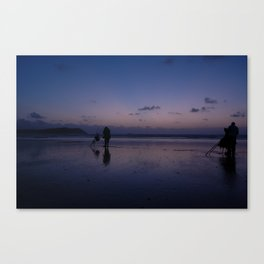 Beach Fishing at Dusk Canvas Print