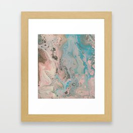Fluid Art Acrylic Painting, Pour 17, Pastel Pink, Blue, Gray & White Blended Color Framed Art Print