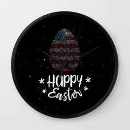 Happy Easter and Easter egg with American flag Wall Clock