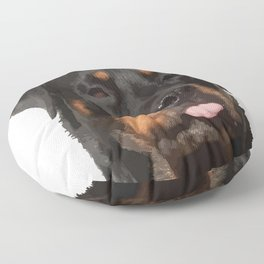 Cute Rottweiler With Tongue Out Floor Pillow
