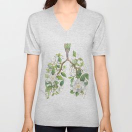 Floral Lungs Anatomy with Flowers, Breathing Gardenia Unisex V-Neck