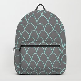 Modern gray teal trendy scallope pattern Backpack
