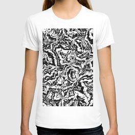 modern scramble, black and white T-shirt