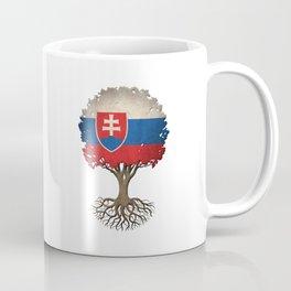 Vintage Tree of Life with Flag of Slovakia Coffee Mug