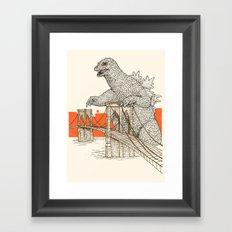 Godzilla vs. the Brooklyn Bridge Framed Art Print
