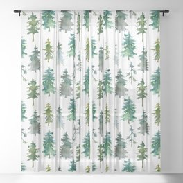 White Snowy Winter Mountains And Trees Watercolor Landscape Pattern Sheer Curtain