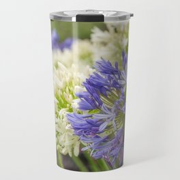 Striking Blue and White Agapanthus Flowers Travel Mug
