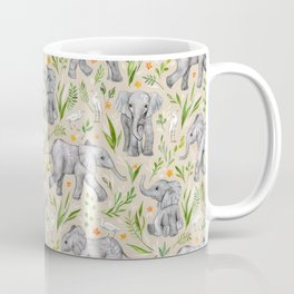 Baby Elephants and Egrets in Watercolor - neutral cream Coffee Mug