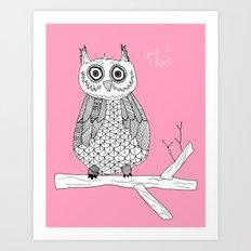 Pink Owl Gives A Hoot Art Print