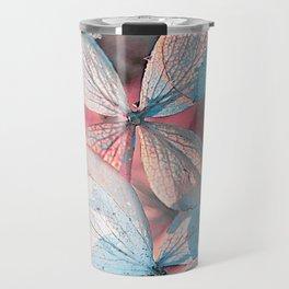 Dried Blue Pink Hydrangea Travel Mug