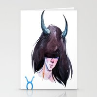 taurus Stationery Cards featuring Taurus by Aloke Design