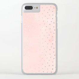 Rose Gold Pastel Pink Foil Paint Line Dots XXIII Clear iPhone Case