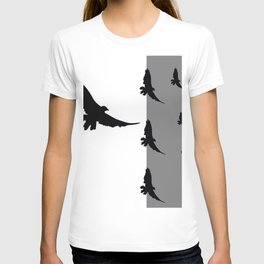 FLYING BLACK CROWS GREY-BLACK ART T-shirt