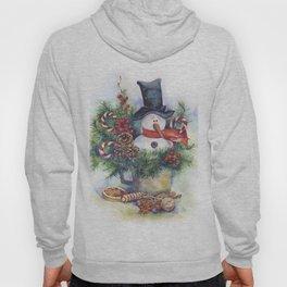 Watercolor Christmas snowman Hoody