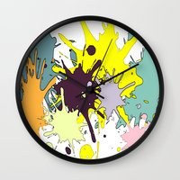 splatter Wall Clocks featuring Splatter by fauzita