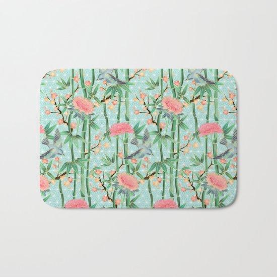 Bamboo, Birds and Blossom - soft blue green Bath Mat