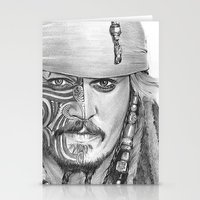 jack sparrow Stationery Cards featuring JACK SPARROW with POLYNESIAN TATOO by Nyko PK16
