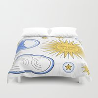 sun and moon Duvet Covers featuring Vintage Sun and Moon by Petya Hadjieva (ragerabbit)