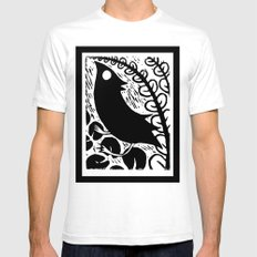 Doodlebird Print White SMALL Mens Fitted Tee