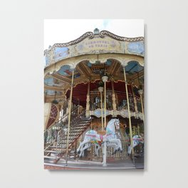 Paris Carousel Horses - Paris Merry Go Round Print - Paris Carousel Horses Home Decor Metal Print
