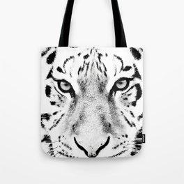 White Tiger Print Tote Bag