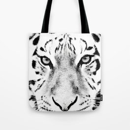 White Tiger Print Tote Bag