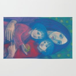Bedtime fairytale, pastel painting, mother and children, fine art, fantasy, blue, green, pink colors Rug