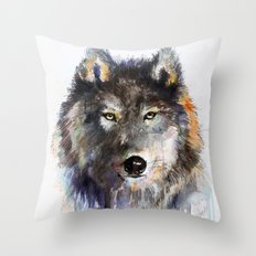 Charcoal Wolf Throw Pillow