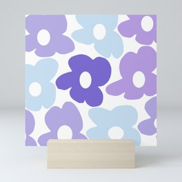 Large Purple Retro Flowers White Background #decor #society6 #buyart Mini Art Print