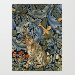 William Morris Forest Rabbit Floral Art Nouveau  Poster