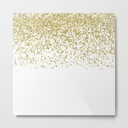 Sparkling gold glitter confetti on simple white background- Pattern Metal Print