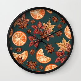 Christmas vector seamless pattern with oranges and cinnamon Wall Clock