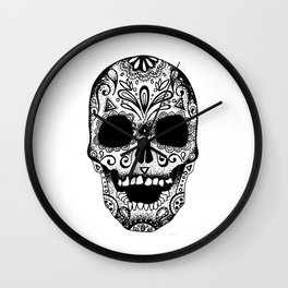 White Mexican Skull Wall Clock