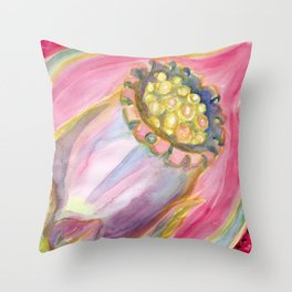 Red Campion Seed Pod -  Abstract Watercolor Painting Throw Pillow