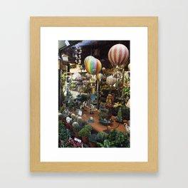 Hot Air Balloons in the Garden Shop Framed Art Print