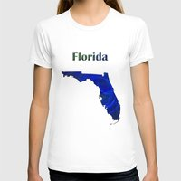 florida T-shirts featuring Florida Map by Roger Wedegis