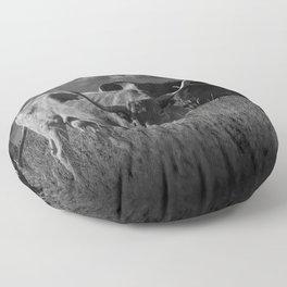 Texas Longhorn Steers under a Cloudy Sky in Black & White Floor Pillow