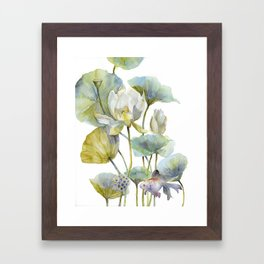 Lotus Plant and Fish Zen Design Watercolor Muted Pallet Botanical Art Framed Art Print