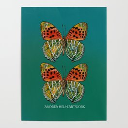 Himalayan Fritillary Butterfly - Emerald Green & Orange Red Poster
