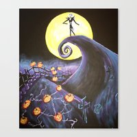 nightmare before christmas Canvas Prints featuring Nightmare Before Christmas by Leslie Creveling
