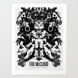 Fox McCloud Star Fox Inspired Geek Psychological Inkblot Art Print