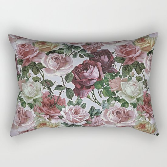 Vintage & Shabby-chic - retro floral roses pattern Rectangular Pillow by Vintage & Love Society6