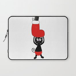 Cute black cat holding Christmas sock and champagne bottle Laptop Sleeve