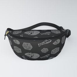 Game Night - repeating pattern nerdy d20 skull pizza Fanny Pack